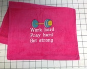 Personalized, workout towel, weight lifting, cardeo, exercise towel, yoga, exercise gift, gym towel, fitness, embroidered towel, monogramed,