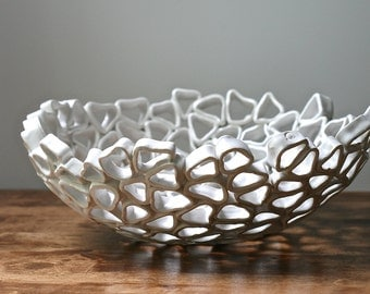 Fruit bowl white large handmade OOAK, Particle series by Golem