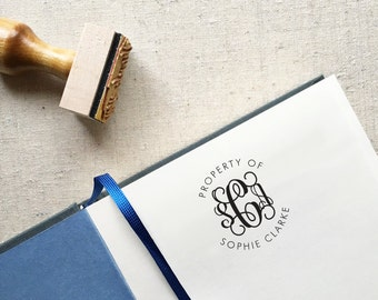 Monogrammed Property of Stamp. Great Gift for Kids! Custom Self-Inking or Wood Mounted Rubber Stamp. Style #16. Personalized Bookplate Stamp