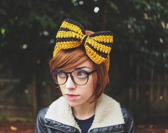 Hufflepuff - Handmade Crochet Hogwarts Harry Potter Bow Headband