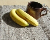 Handwoven Placemat  'Oatmeal' rustic wool with brown stripes