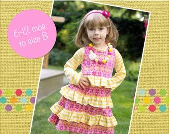 Allie's A-line Knit Ruffle Tunic Dress PDF Pattern Sizes 6-12m to girls 8