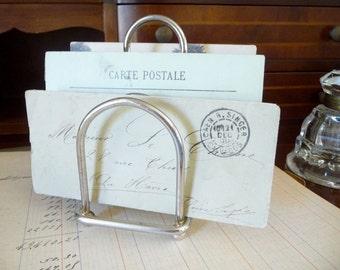 Vintage French Letter Holder Napkin Holder Silver Plate Toast Rack Mid Century Desk Accessory Business Card Holder