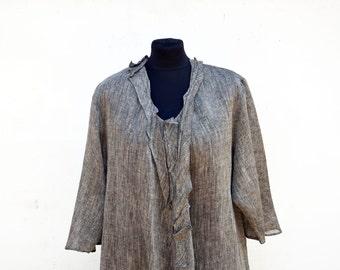 european LINEN tunic XL large size, eco hemp flax tank OOAK woman unique fashion design, natural eco flax clothing, wearable art to wear 307