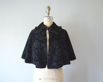 Victorian cape . antique silk velvet capelet