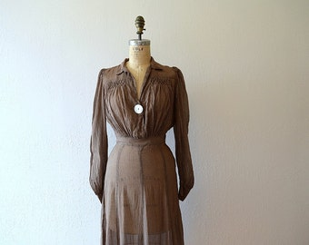 1930s 1940s dress . vintage 30s 40s polka dot dress