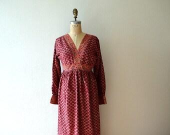 1970s block print dress . vintage 70s India cotton dress