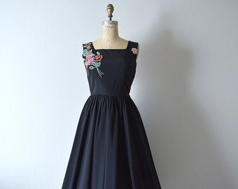 Vintage 1950s black taffeta dress . 50s party dress