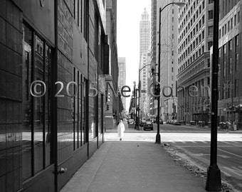 Woman In Coat, Downtown Chicago fine art black and white inkjet photograph