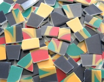 SALE - MOSAIC Tiles - Broken China - Colorful Tiles - Recycled Plates - 100 Tiles