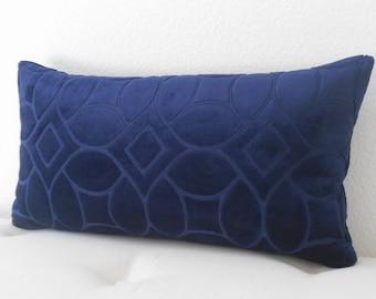 Dark navy geometric velvet decorative pillow cover