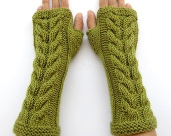 PDF knitting Pattern cabled long arm warmers fingerless gloves mittens