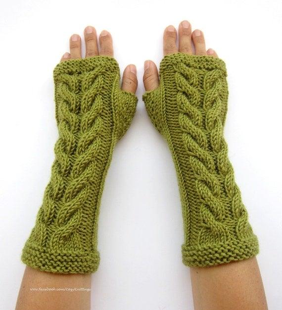 Long Arm Warmers Knitting Pattern : PDF knitting Pattern cabled long arm warmers fingerless gloves