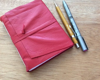 Red Leather Journal-Notebook-Handmade-Draw-Sketch