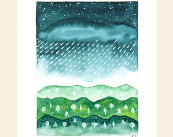 Original Watercolor painting illustration Rain drops Clouds Sky Stars Mountains Trees Spring Nature outdoors Blue and green Wall decor