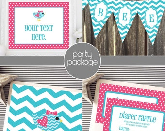 Instant Download - Hot Pink and Aqua Tweet Bird Party Package
