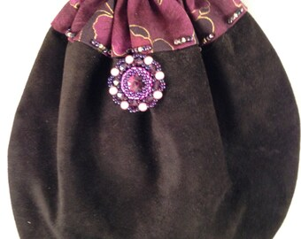 Black Suede Leather Purple Beaded Drawstring Purse Bag