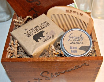 Man Box, Gift Box, Beard Balm, Nija comb, handmade cold processed soap, Men's grooming gift, Grizzly tamer, peachwood antistatic comb, soap