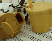 Retro Yellow Tupperware Sugar + Creamer Set - Vintage 1970's Mustard-Colored Serving Ware, Mud Century Storage, Kitchen Decor, Sugar + Cream