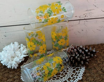Vintage Floral Drinking Glass Set of FOUR Matching Glasses - Retro Barware, Alternative Vases, Floral Glass Ware, Retro Yellow Drink Glasses