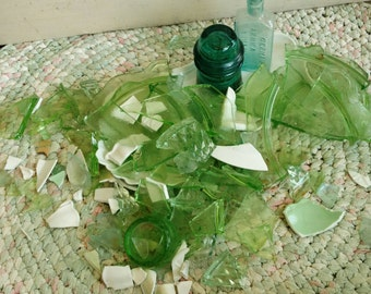 Antique Broken China in Shades of Green With Whites - Mosaic Tiles, 3 Pounds of Broken Vintage China, Art Pottery Shards, Craft Art Supplies