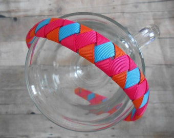 Colorful Pink Orange Turquoise Woven Headband Girls Headband