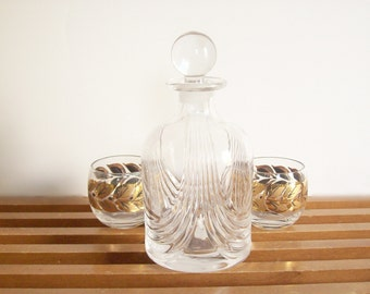 Art Deco Decanter, Lead Crystal, Vintage Barware, Liquor Carafe, Crystal Decanter