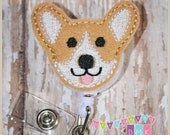Cute CORGI Dog - Felt Badge Reel - Retractable ID Badge Holder - Embroidered - Alligator or Slide Clip - Name Tag Pull