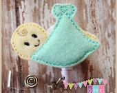 Baby in Blanket- Mint Green - Felt Badge Reel  - Retractable ID Holder - Embroidered - Name Tag - Alligator or Slide Clip