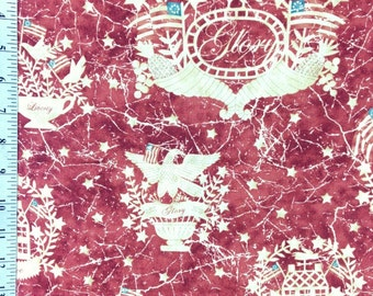 Patriotic Cotton Fabric by the yard, 1857 Gloria! by Bonnie Sullivan and Maywood Studio, Rust