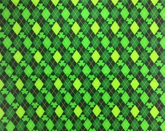 St Patrick's Day Fabric by the yard, Green Shamrocks and Diamonds, David Textiles