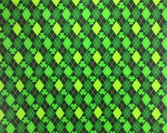 St Patrick's Day Fabric by the yard, Green Shamrocks and Diamonds, David Textiles