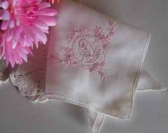 Bride's Wedding Hanky Monogrammed D Vintage Handkerchief in Off White with Rose Gold Pink Initial Keepsake Something Old Bridal Shower Gift