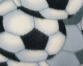 Black and White Soccer Balls Allover Print Fleece Fabric by the yard