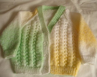 hand knitted baby sweater 3 to 6 months King Cole Melody DK Wool