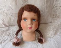 Antique French boudoir doll antique cloth doll face 1920s flapper doll making, hand painted doll's face, young girl w blue eyes, art doll
