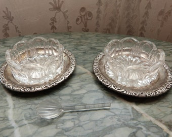 Antique French silverplate salt and pepper pots servers set plates, glass bowls w spoon silverware tableware vintage French table ware gift
