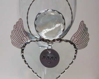 Bevel Heart Angel with Crystal Clear Gem Head and Twisted Wire Halo - Personalized Hand Stamped Tags Now Available
