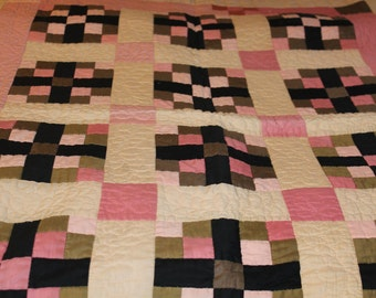 Beautiful handmade lap quilt ecru, pink, black and kahki