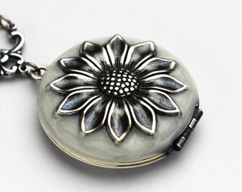 Sunflower Locket, Sunflower Necklace, Enamel Jewelry, Silver Sunflower, Sunflower Wedding, Birthday Gift, Bridesmaid Gift, Gift for Her