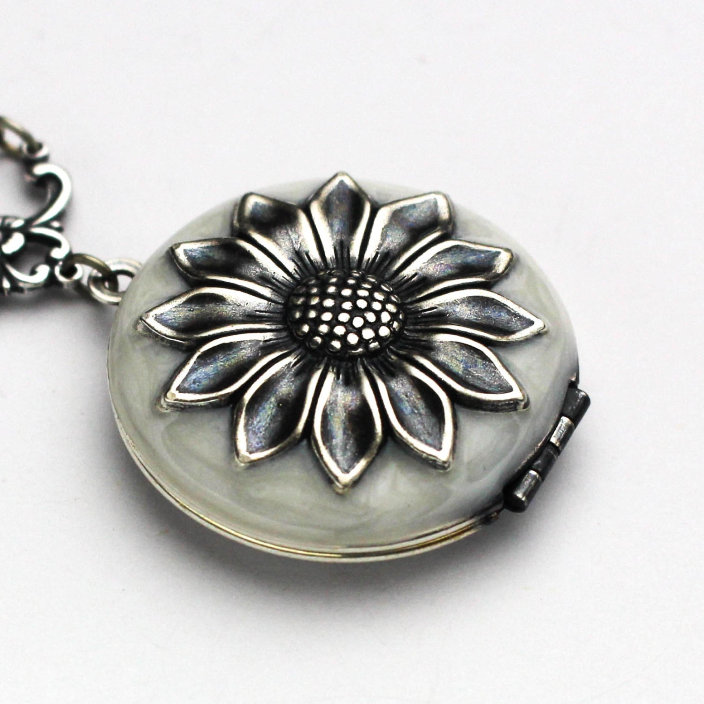 Sunflower Locket Sunflower Necklace Enamel Jewelry Silver