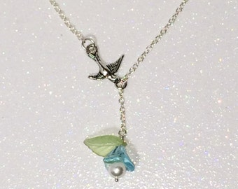 Aquamarine flower & Bird Necklace Lariat Blue Mothers Day Gift Mom Girlfriend Sister