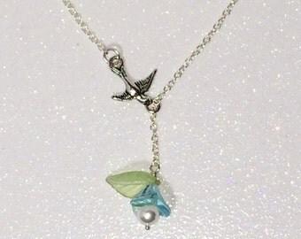 Aquamarine flower Bird Lariat Necklace Blue Mothers Day Gift Mom Girlfriend Sister