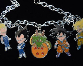 Dragonball Z Bracelet, Anime Charm Bracelet, Goku and Vegeta Super Saiyan