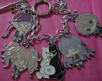 Danganrompa Bracelet, Anime Charm Bracelet, Dangan Rompa Jewelry, Anime Jewelry