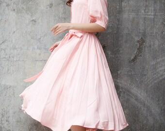 New Linen Dress Sundress Summer Dress in Pale Pink - NC712