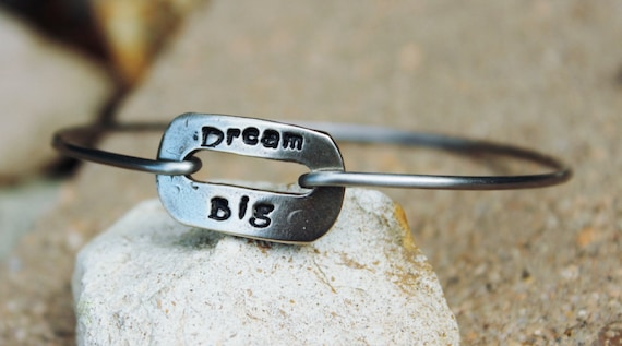 Dream Big Mantra Bangle Bracelet / Dream big mantra / Jewelry for Woman / Gift for Friend / Dream Big Bangle Bracelet / Sterling Silver
