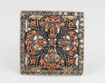 Cognac Diamond and Orange Sapphire Square Statement Ring 14K Yellow Gold Size 7