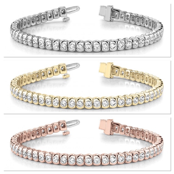 Diamond Tennis Bracelet In Line Bezel Set 5 cttw Bracelet 14K White Yellow Rose Gold