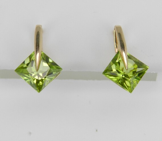 REDUCED Princess Cut Peridot Stud Earrings Square Studs Yellow Gold August Birthstone